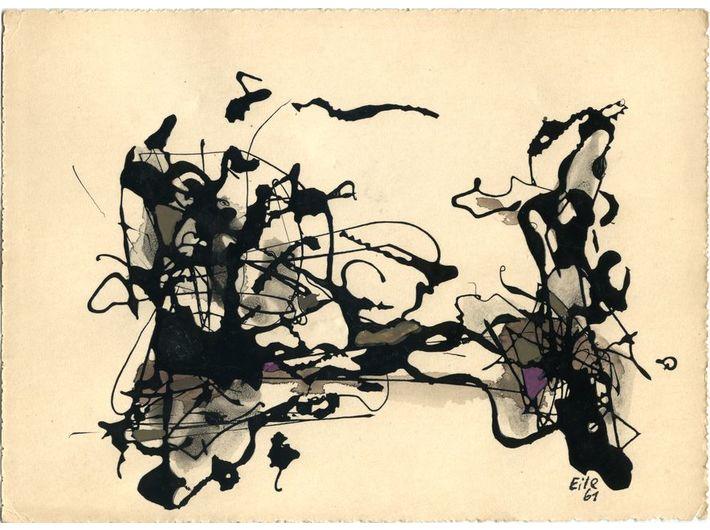 Marian Eile, untitled, 1961, nitrocellulose paint, watercolour / paper, 10.5 × 14.8 cm, MOCAK Collection
