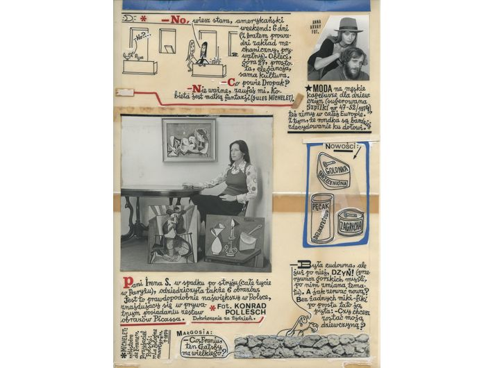 Marian Eile, //Francis and Others// [the project of the column for //Szpilki//], 1975, collage / tracing paper, 32.2 × 23 cm, MOCAK Archive