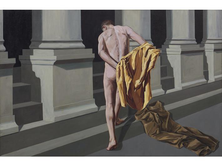 Tadeusz Boruta, //St Francis Entrusts Himself to the Care of the Church//, 2003, oil / canvas, 185 × 275 cm, courtesy T. Boruta