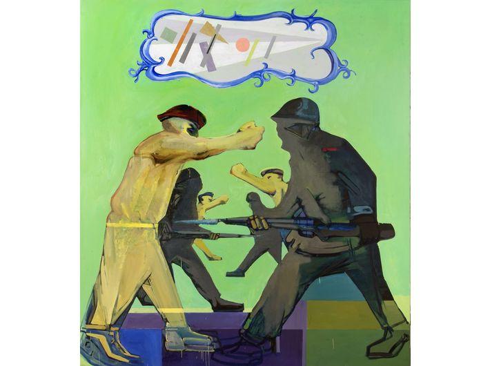 Jacek Sroka, //Suprematismo o muerte!//, 2013, oil / canvas, 200 × 180 cm, courtesy J. Sroka