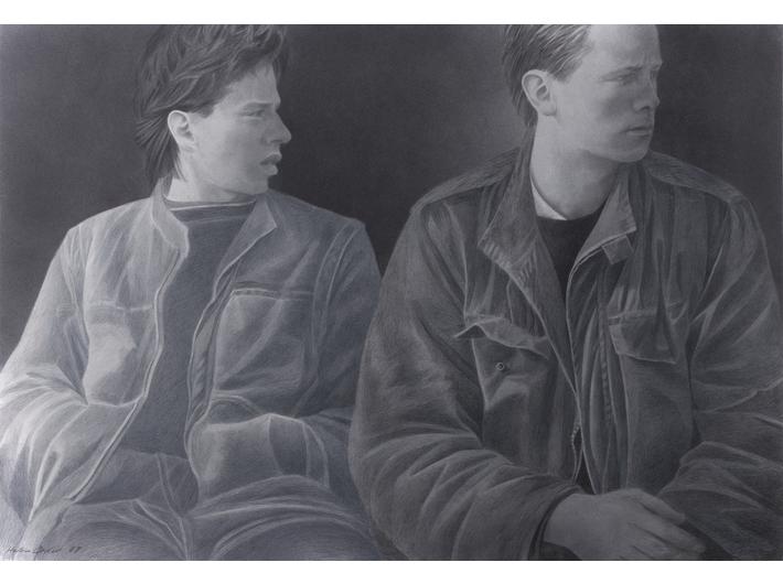 Halina Cader, bez tytułu, z cyklu //Chłopcy//, 1987, akryl, kredka / papier, 70 × 100 cm, courtesy H. Cader