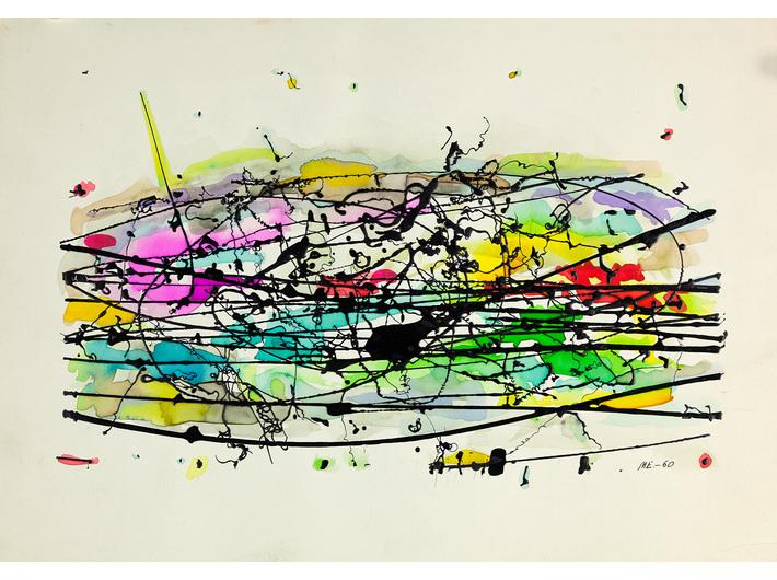 Marian Eile, bez tytułu, 1960, farba nitro, akwarela / papier, 24 × 34,5 cm, Kolekcja MOCAK-u