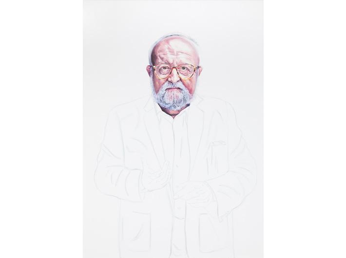 Beata Stankiewicz, //Krzysztof Penderecki//, 2020–2021, oil, water marker / canvas, 100 × 70 cm, MOCAK Collection