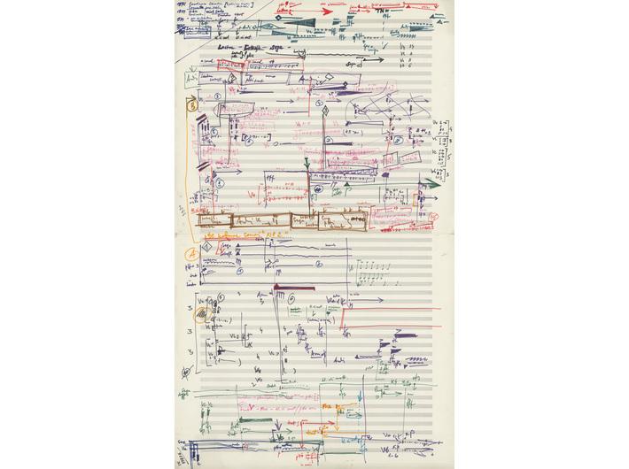 Krzysztof Penderecki, //De natura sonoris no. 2// for an orchestra, 1971, 70 × 41.5 cm, courtesy E. Penderecka