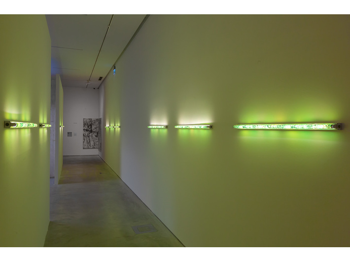 Karolina Kowalska, //Neon Light Shades//, 2005, object, 120 cm, MOCAK Collection, photo: R. Sosin