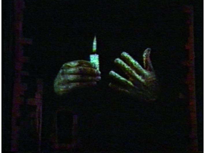 Krzysztof Wodiczko, //Wieża ratuszowa, Kraków//, 1996, dokumentacja projekcji publicznej, Kolekcja MOCAK-u