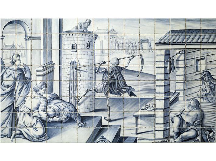 Debora Hirsch, bez tytułu [Kolonialne kafle], 2017, olej / płótno, 96 × 168 cm, Kolekcja MOCAK-u