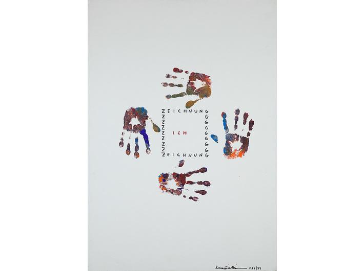 Emmet Williams, //Faustzeichnungen//, 1983/1989, acrylic / canvas, 100 × 70 cm, MOCAK Collection