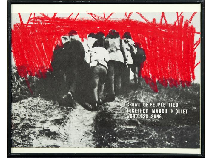 Milan Knížák, //Abfälle//, 1973, serigraph, wax crayon, self-adhesive letters / paper, 21 x 29,5 cm, MOCAK Collection