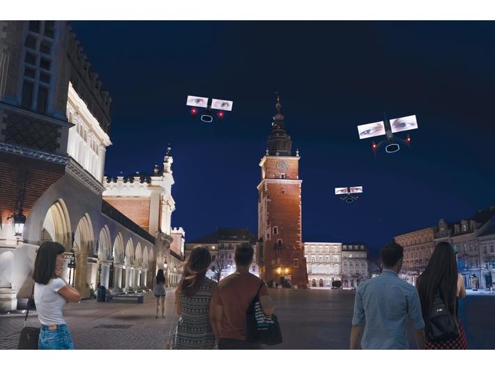 Visualization of the performance //The Sky Above Krakow//, design: M. Mosiołek, photo: F. Gąsiorowski