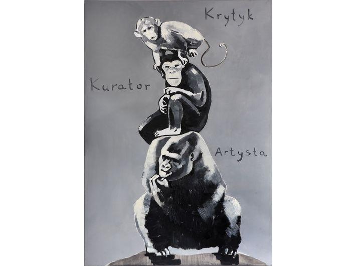 The Krasnals. Whielki Krasnal,Piramida zwierząt / na podstawie pracy Katarzyny Kozyry, 2008,olej oil on canvas, 92 x 65 cm. Courtesy of The Krasnals.