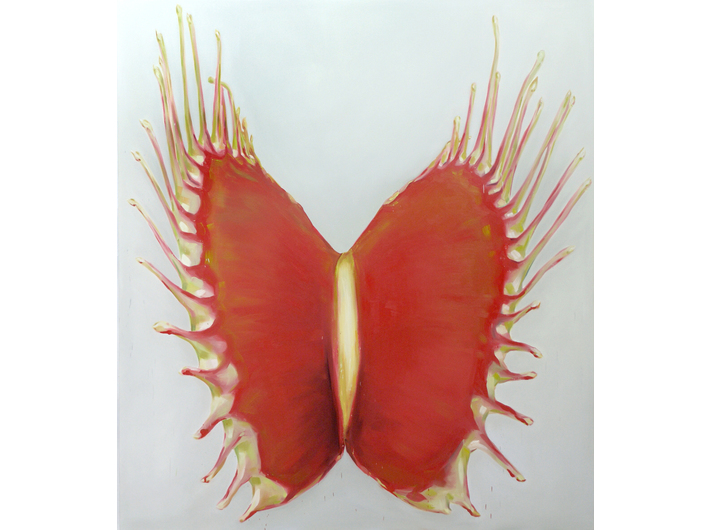 Charlotte Beaudry, bez tytułu (muchołówka), 2012, olej na płótnie, 200 x 180 cm, fot. Marc Wathieu