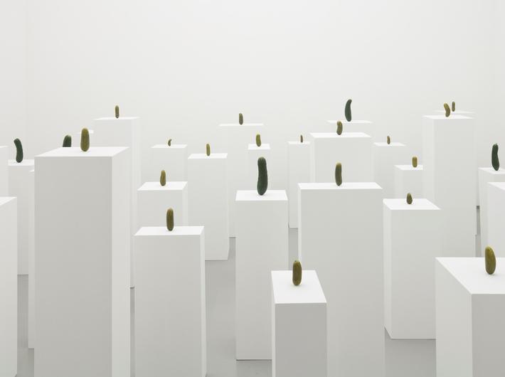 Erwin Wurm, //Autoportret jako ogórek//, 2008, akryl, farba, postumenty, widok instalacji w Tomio Koyama Gallery, Tokio, Japonia