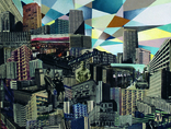 Mateusz Szczypiński, //Warsaw East//, 2012, collage, oil / canvas1